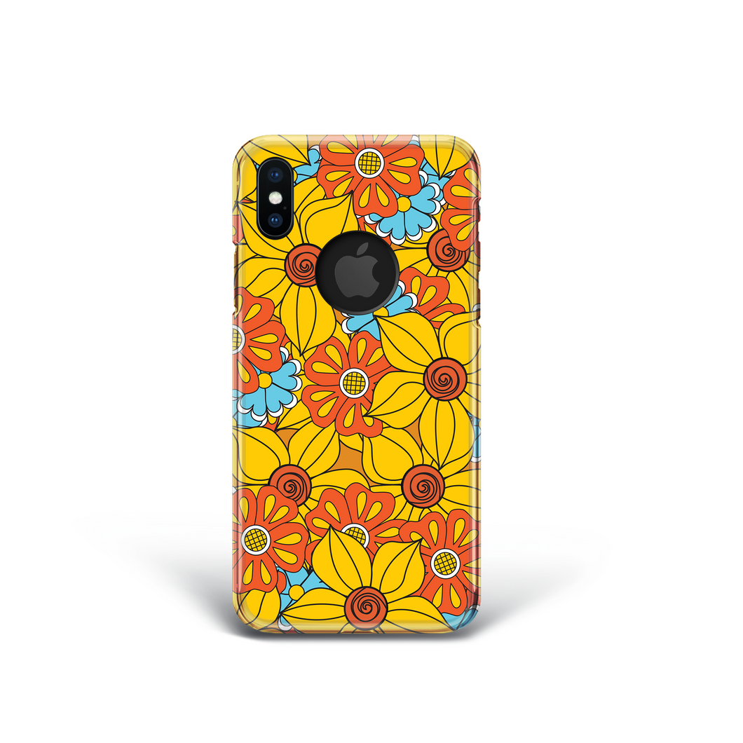 Vintage Floral Phone Case in Orange and Blue for iPhone and Samsung. 60's 70's Style.