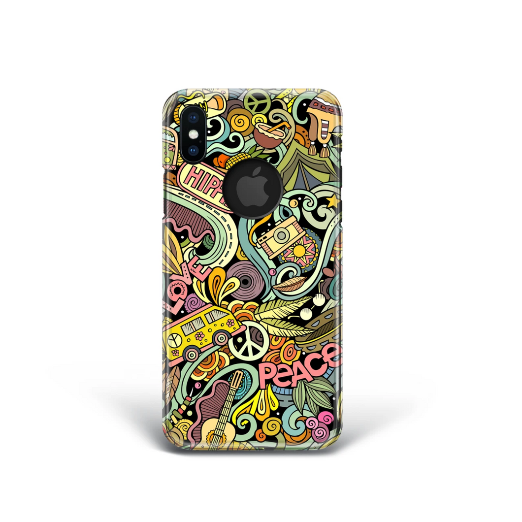 Retro Hippie Phone Case for iPhone and Samsung. 1960's 1970's Style.
