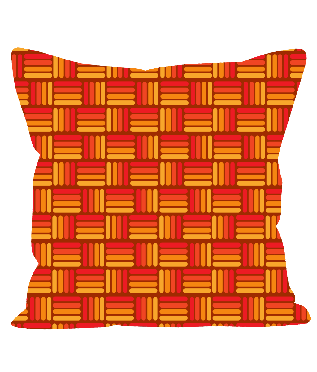 Retro Vintage Throw Cushion in an Orange and Yellow Weave effect Pattern.