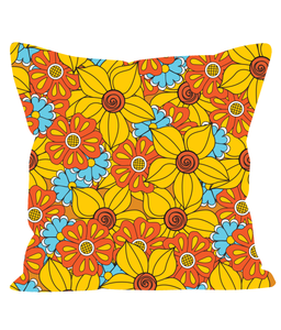 Retro Vintage Throw Cushion with a Large Print Floral Pattern.