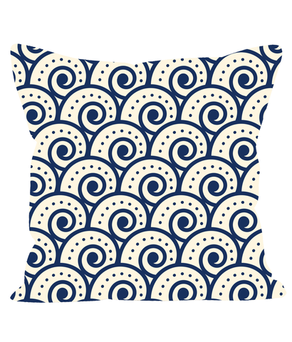Retro Vintage Japanese Wave Cushion in Classic Blue and White