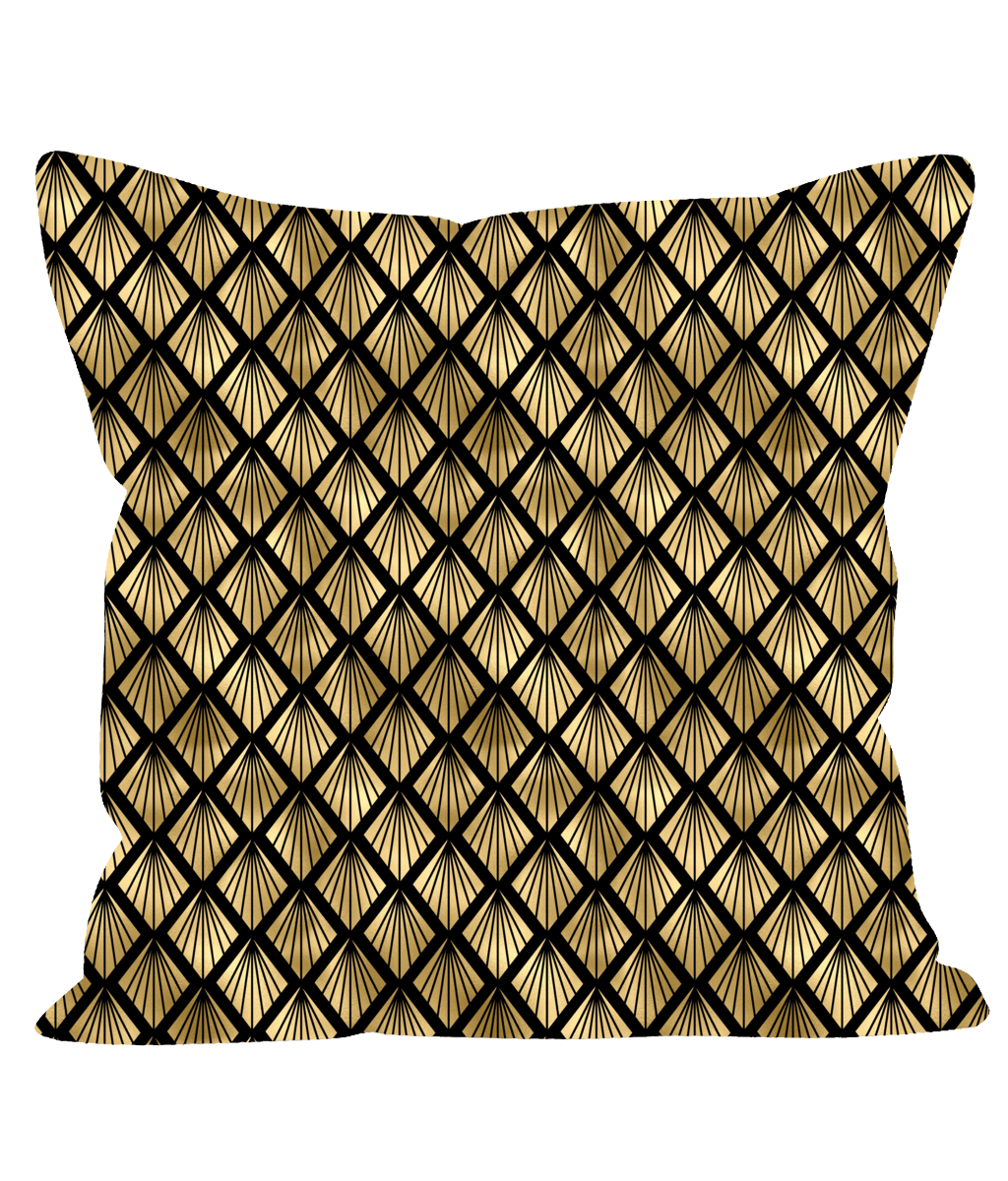 Retro Vintage Art Deco Cushion in Black and Gold. 1920's Style Throw Cushion.