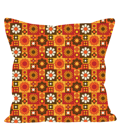 Retro Vintage Throw Cushion in a Floral, Tile Effect Pattern. 1960's 1970's Style.