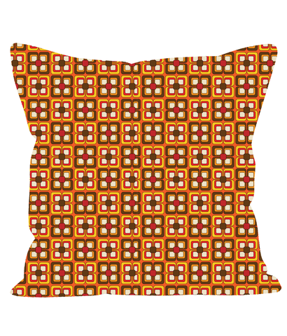 Retro Vintage Throw Cushion in a Geometric Tiled Square Pattern.