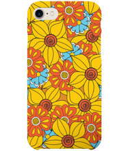 Load image into Gallery viewer, Phone case with vintage flowers in orange yellow and blue