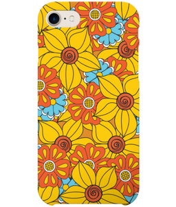 Phone case with vintage flowers in orange yellow and blue