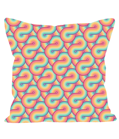 Retro Rainbow Throw Cushion. Swirling Rainbows in a 1980's 1990's Style.