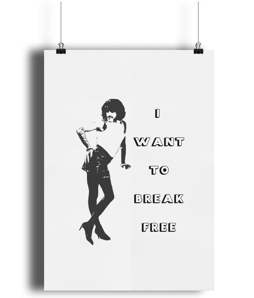 Freddie Mercury Queen Band Poster Print. I Want to Break Free Art Print.