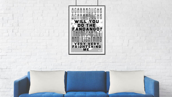Queen Band Poster Print. Bohemian Rhapsody Song Lyrics. Music Wall Art.
