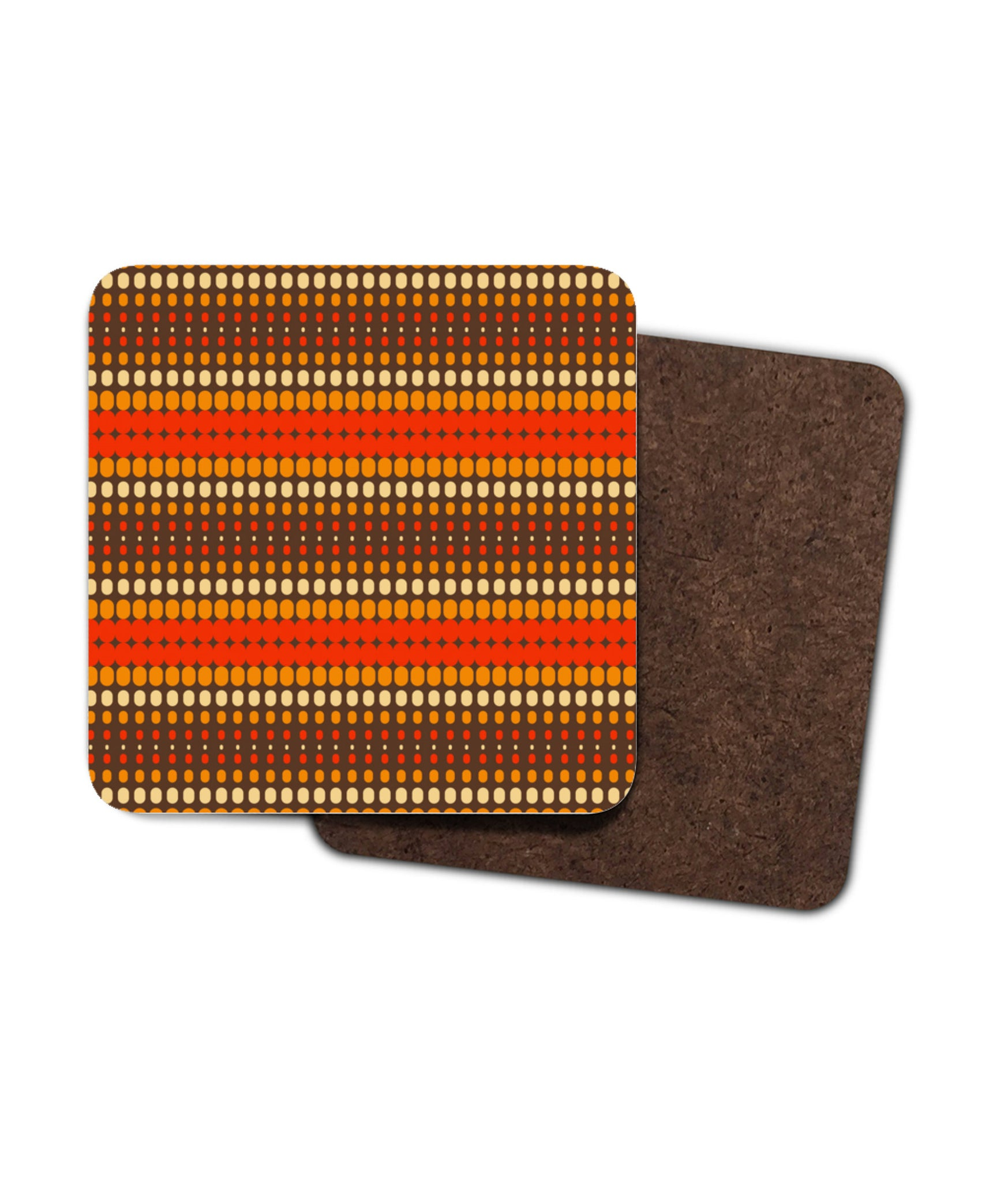 Vintage Retro Striped Coasters. Set of Two or Four in 1960's 1970's Style. Orange, Red and Brown.