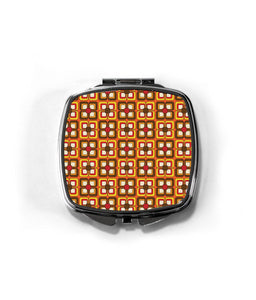 Vintage Retro Geometric Patterned Cosmetic Mirror. 60s 70s Style. Handbag Sized Folding Mirror.