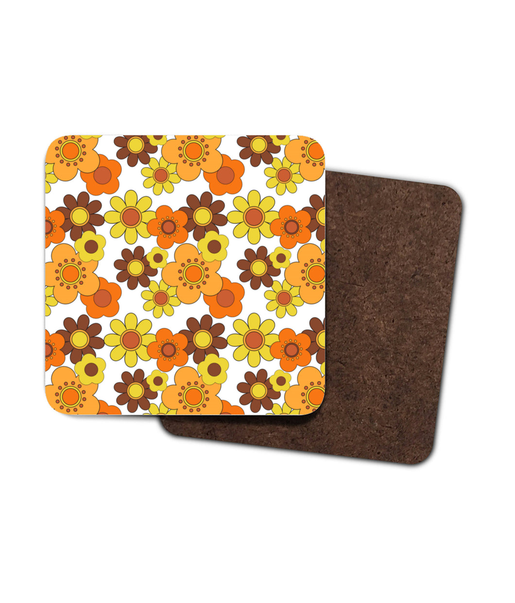 Vintage Retro Style Orange and Yellow Floral Coasters. Set of Two or Four in 1960's 1970's Style.
