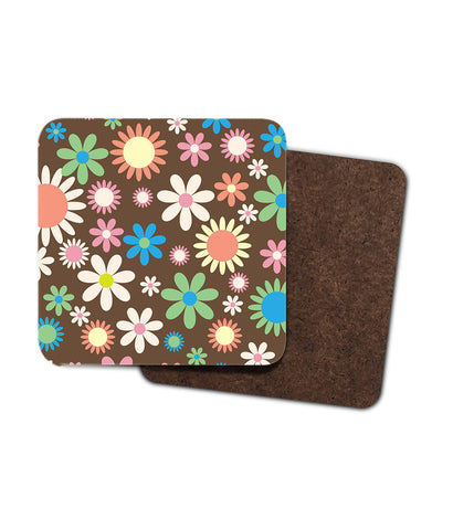 Vintage Retro Style Floral Coasters. Set of Two or Four in 1960's 1970's Style.