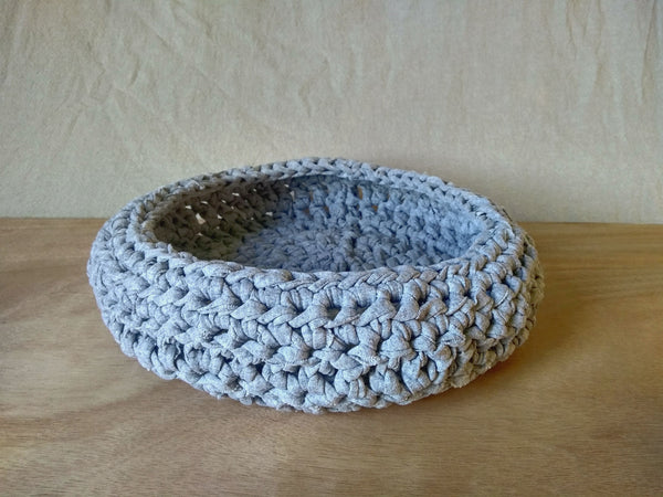 Handmade crochet basket with recycled t-shirt yarn in light grey
