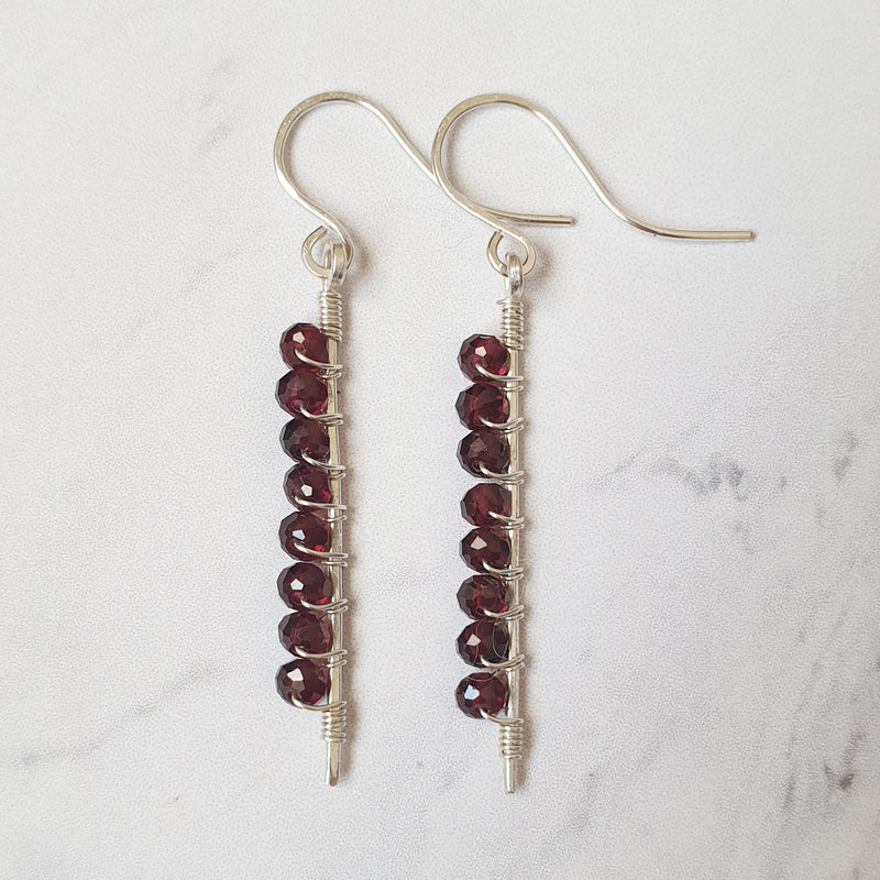 Sterling Silver Garnet Stick Earrings - SubtlEarringsOntheGo