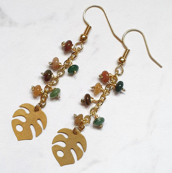 Indian Agate Leaf Earrings - SubtlEarringsOntheGo