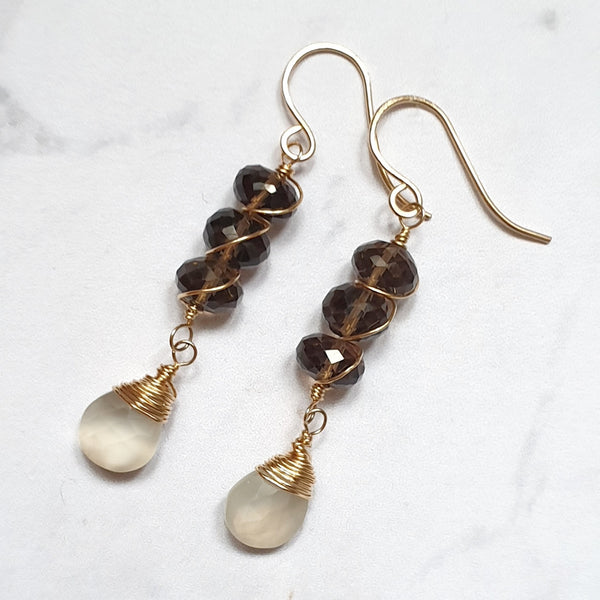 Smoky Quartz and Moonstone Earrings - SubtlEarringsOntheGo