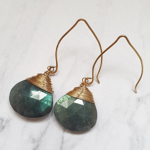 14K Labradorite Gemstone Earrings - SubtlEarringsOntheGo