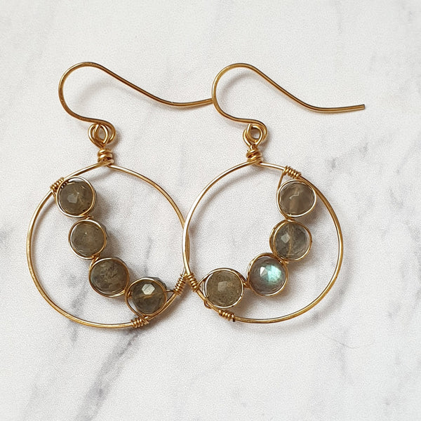 14K Labradorite Hoop Earrings - SubtlEarringsOntheGo