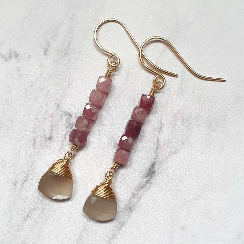 Pink Tourmaline and Moonstone Earrings