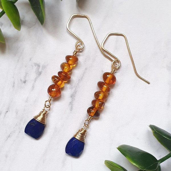 Lapis Lazuli and Amber Earrings in 14K Gold