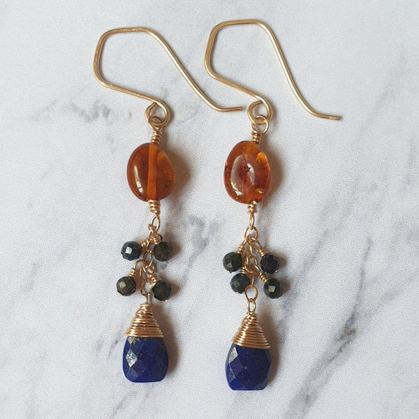 Amber and Lapis Lazuli Chain Earrings - SubtlEarringsOntheGo
