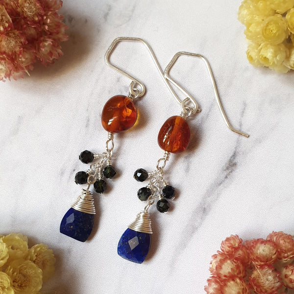 Lapis Lazuli and Amber Silver Chain Earrings