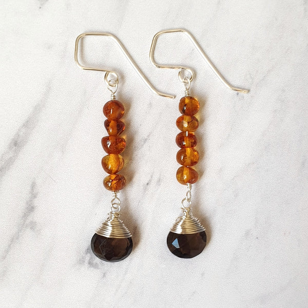 Smoky Quartz and Amber Earrings