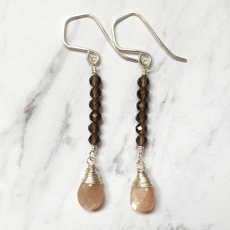 Peach Moonstone and Smoky Quartz Earrings