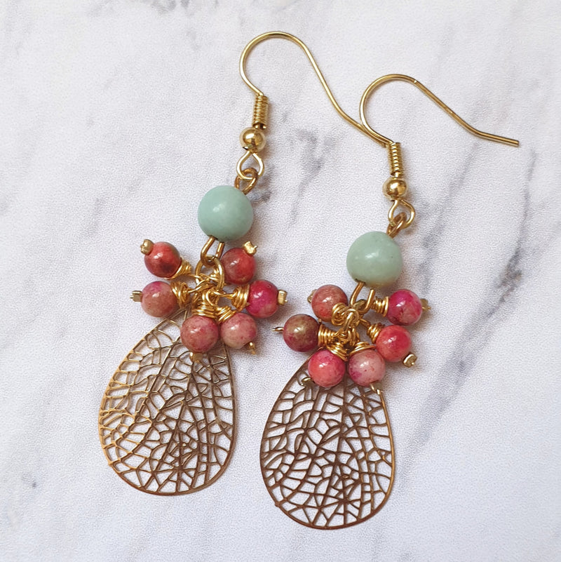 Jade and Amazonite Leaf Earrings