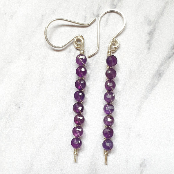 Amethyst Stick Earrings