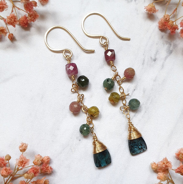 Tourmaline and Kyanite Earrings