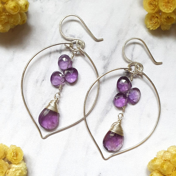 Pink Amethyst Leaf Earrings in Sterling Silver