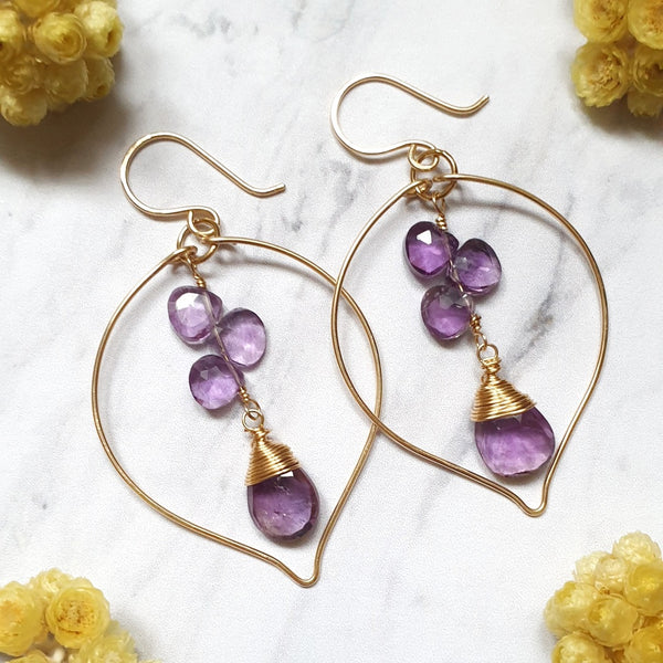 Pink Amethyst Leaf Earrings