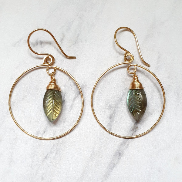 Leaf Labradorite Hoop Earrings