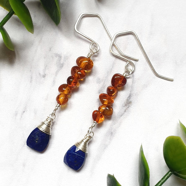 Lapis Lazuli and Amber Earrings