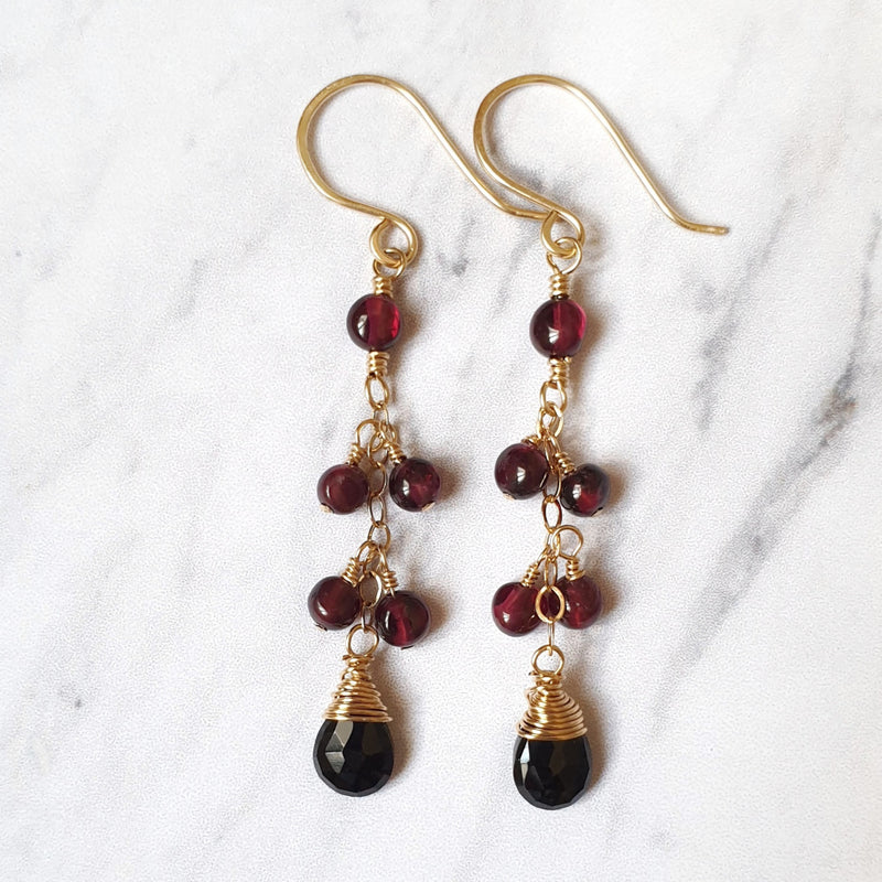 Garnet and Spinel Chain Earrings in 14K Gold