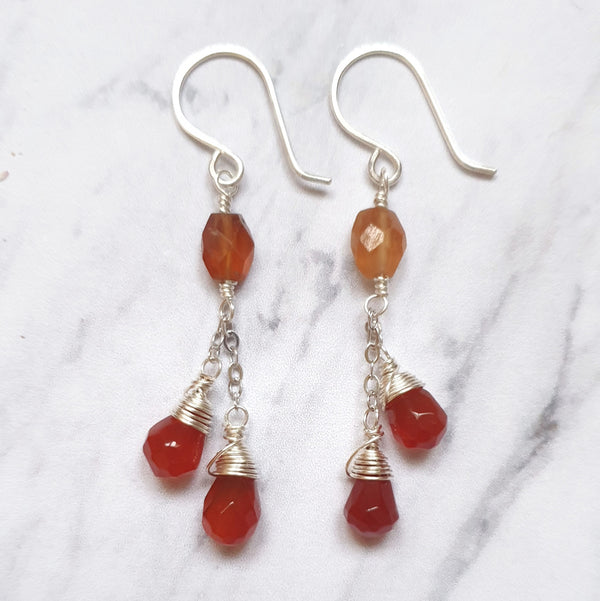Garnet and Carnelian Chain Earrings