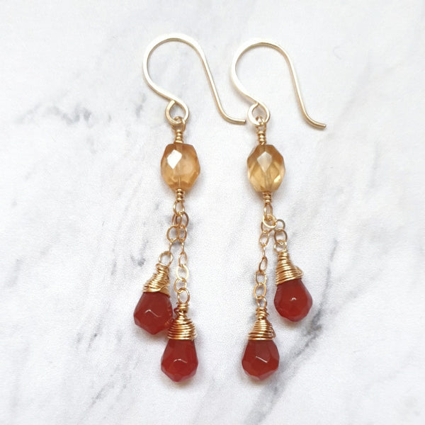 Gold Garnet and Carnelian Earrings