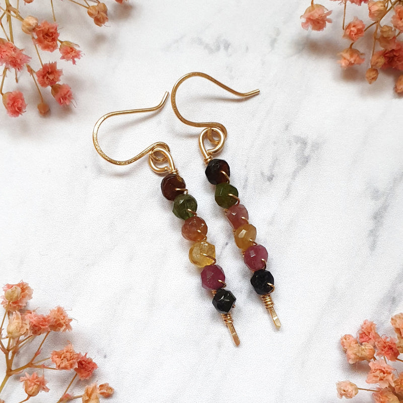 Tourmaline Stick Earrings in 14K Gold