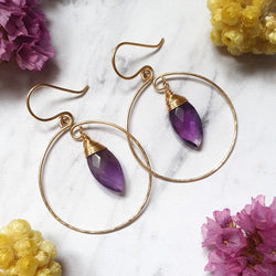 Purple Amethyst Hoop Earrings