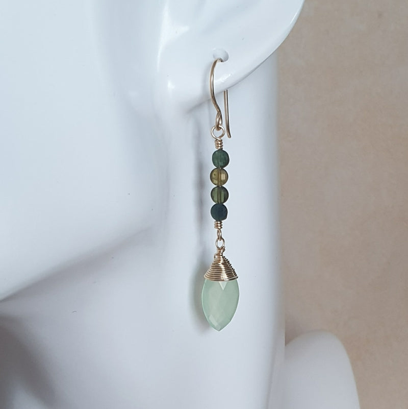 Green Chalcedony and Tourmaline Gold Earrings