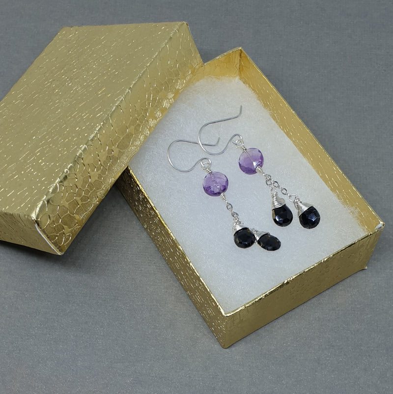 Amethyst and Spinel Chain Earrings