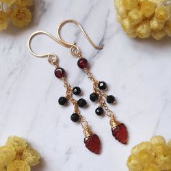 Leaf Garnet and Spinel Gold Earrings
