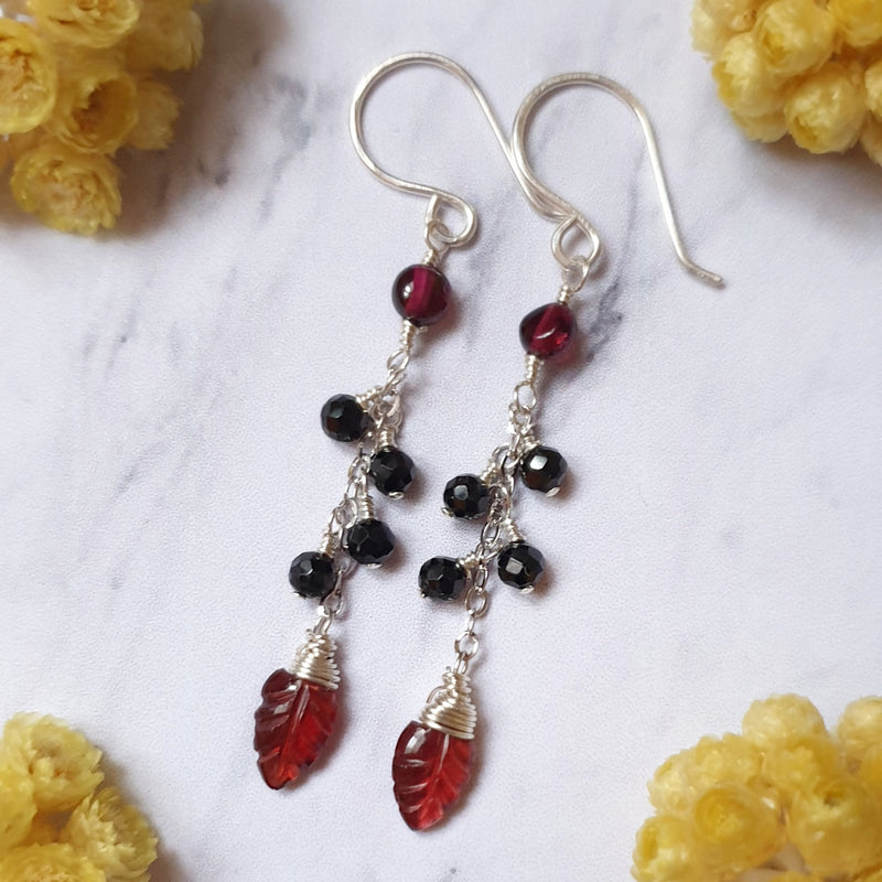Leaf Garnet and Spinel Silver Earrings