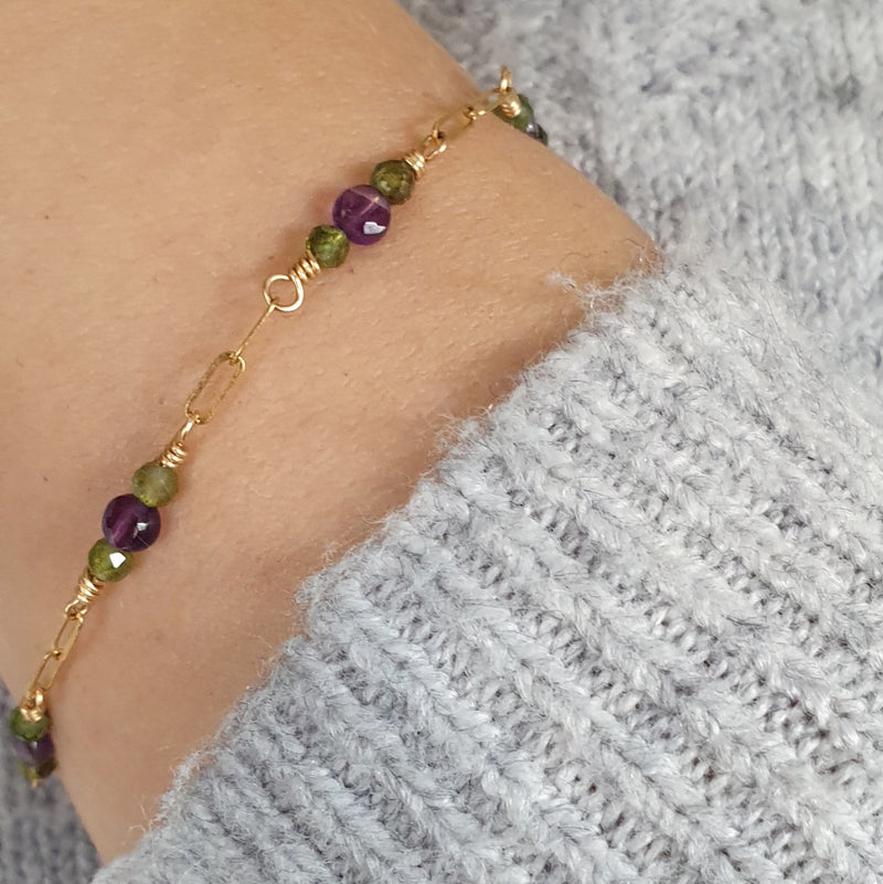 Amethyst and Tourmaline Gold Bracelet