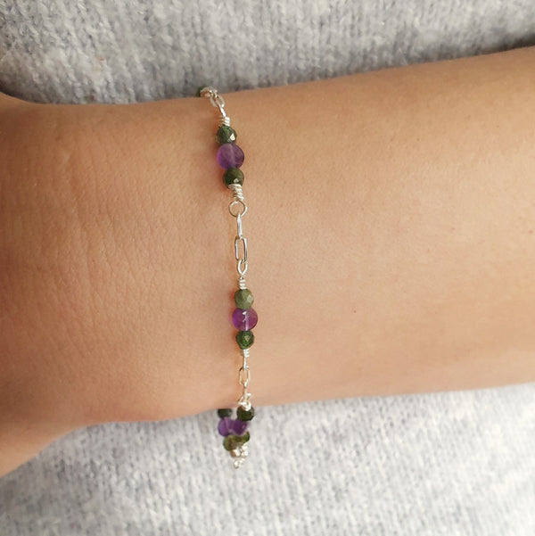 Amethyst and Tourmaline Silver Bracelet
