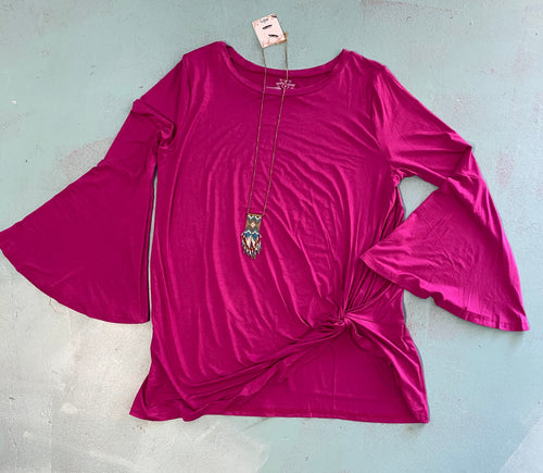 Plum bell sleeve shirt