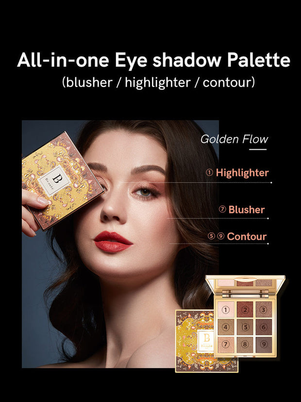 <b>All-in-one Eye Shadow Palette 9 Color Golden Flow  Buy 2 get 1 gift</b><br>