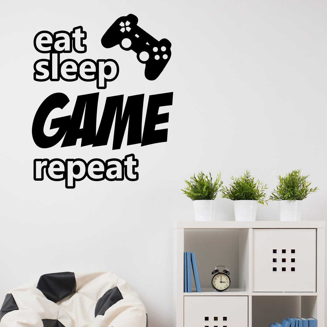 Eat Sleep Game Repeat Wall Decal